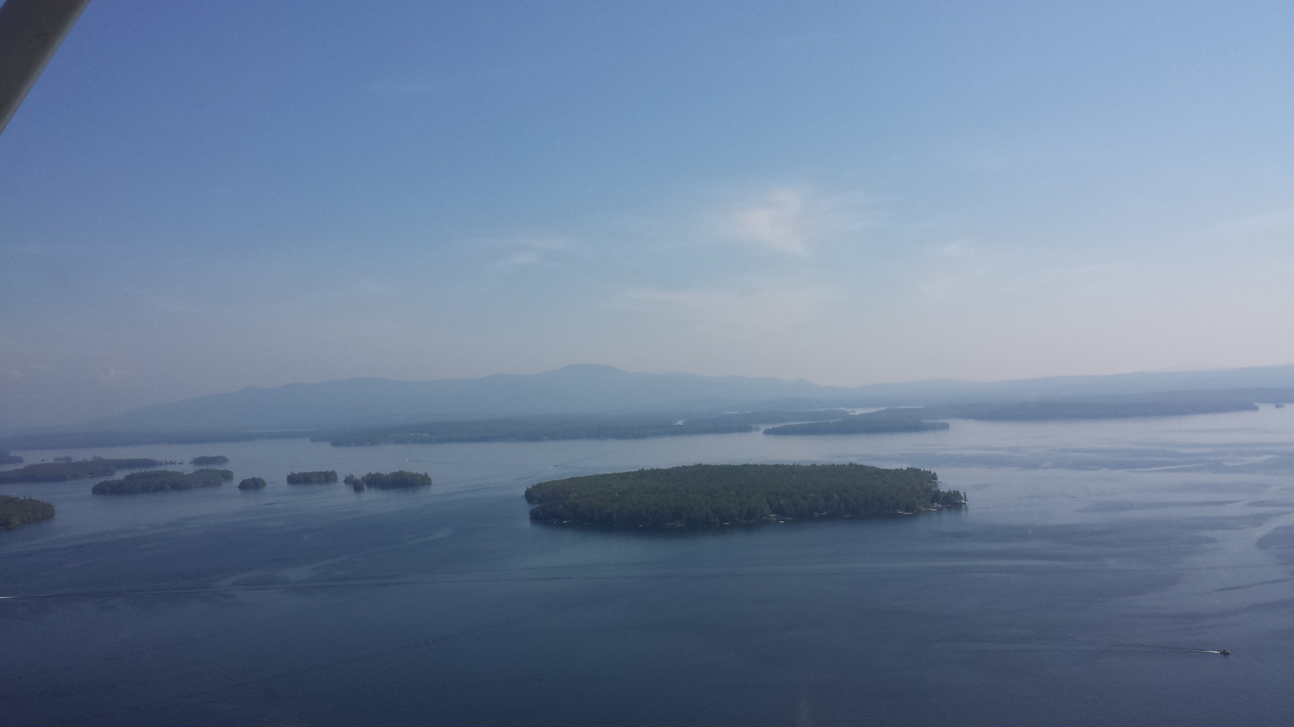 Flying over Lake Winnipesaukee, New Hampshire