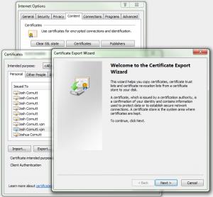 Export Certificate Dialog