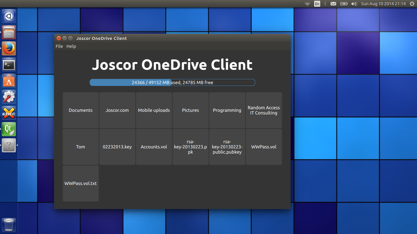 OneDrive Linux Client storage overview screenshot